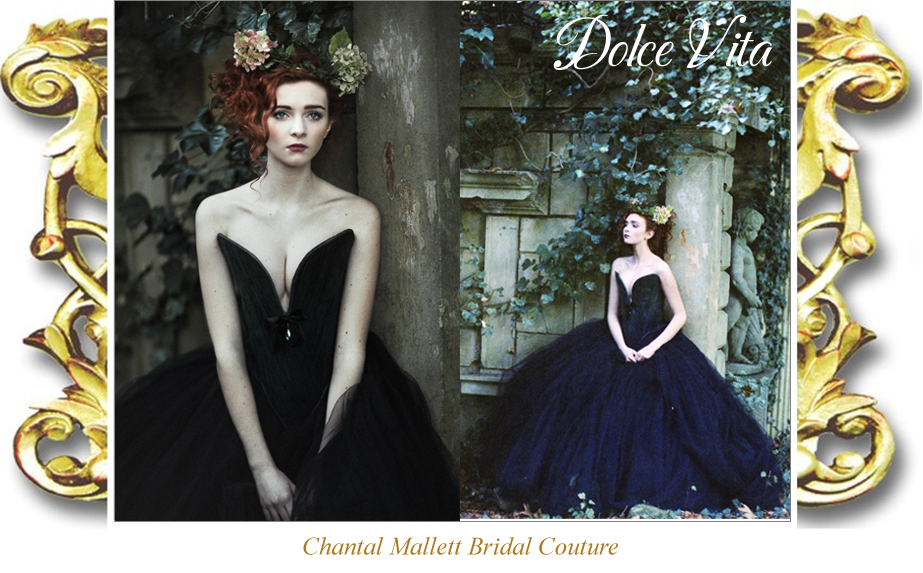 Bespok, alternative, black bridal gown with tulle corset and full, tulle skirt by Chantal Mallett