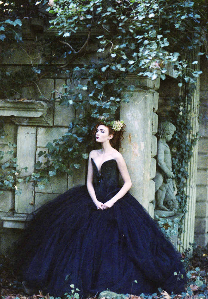 Tulle, black Dolce Vita plunge corset with very full ballgown skirt by Chantal Mallett
