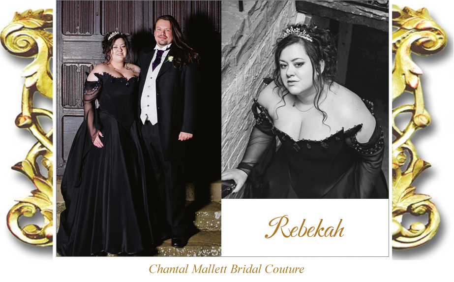 Couture, corseted wedding dress with a-line skirt & train in black silk crepe by Chantal Mallett.
