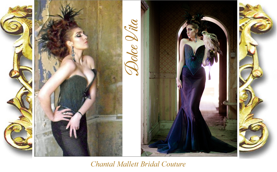 Bespoke, corseted evening gown made in black & peacock toned tulle by Chantal Mallett