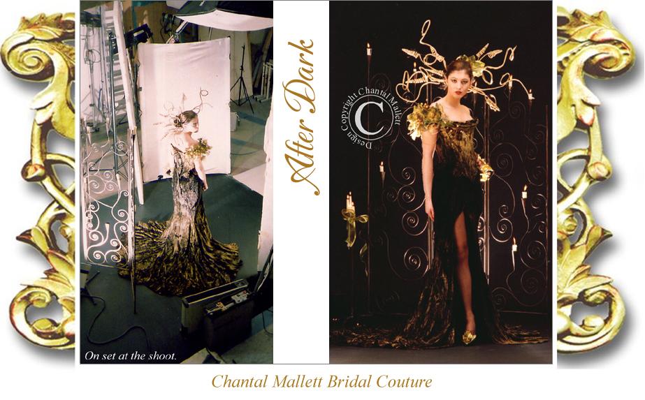 Bespoke, corseted evening dress with slit leg, fishtail skirt in black & gold velvet by Chantal Mallett