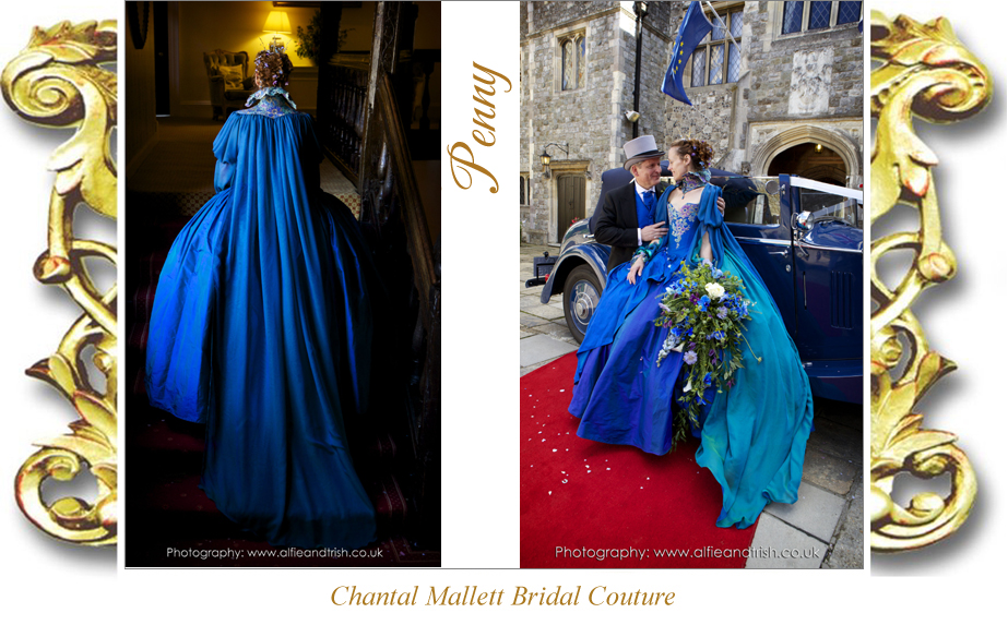 Bespoke, corseted wedding gown with ballgown skirt & opera cape in peacock blue silk, lace & chiffon by Chantal Mallett
