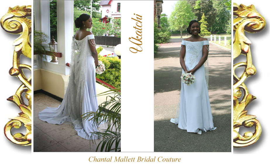 Couture,  corset & A-line fishtail wedding dress in ice blue crepe & silver lace by Chantal Mallett