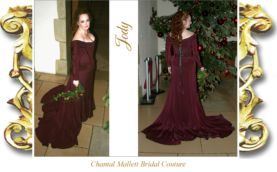Bespoke corseted wedding gown with fishtail skirt, made in burgundy silk crepe by Chantal Mallett.