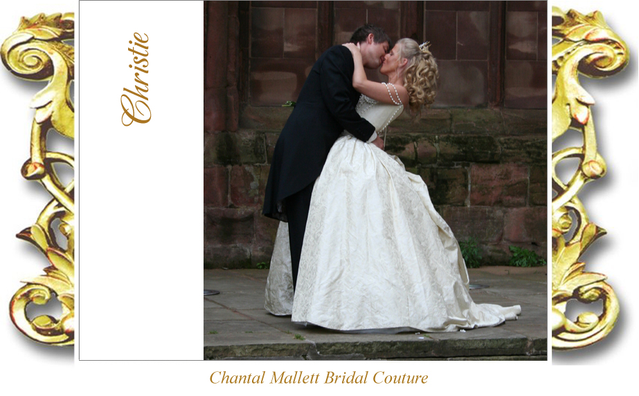 Bespoke,  corseted wedding gown with full skirt & bustle in cream silk brocade by Chantal Mallett.