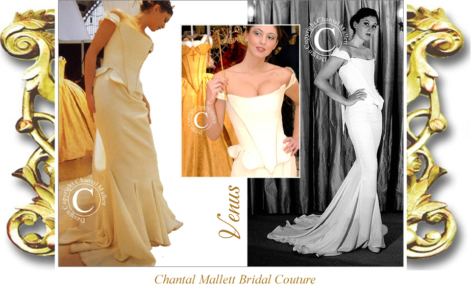 Classic, crepe corseted wedding gown with fishtail in couture cream by Chantal Mallett.