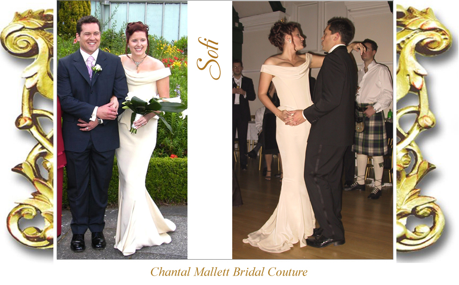 Bespoke, corseted wedding gown with fishtail in cream crepe by Chantal Mallett.