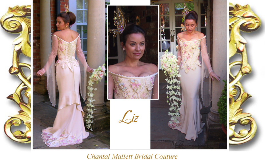 Bespoke, crepe corseted wedding gown & unusual double fishtail. Made in cream silk with hand painted lace by Chantal Mallett.