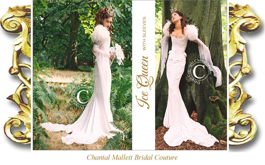 Bespoke, corseted wedding gown with mermaid skirt, georgette medieval sleeves in ivory velvet & trimmed with ostrich feathers & crysyals by Chantal Mallett.