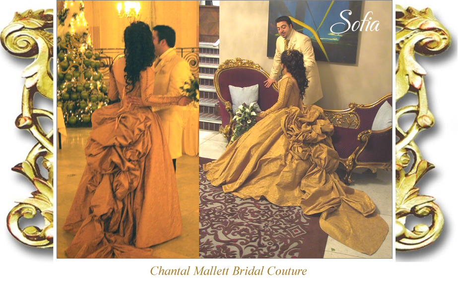 Couture, corseted wedding dress with two part skirt; full 3/4 skirt & bustle over a straight skirt in gold silk brocade by Chantal Mallett.