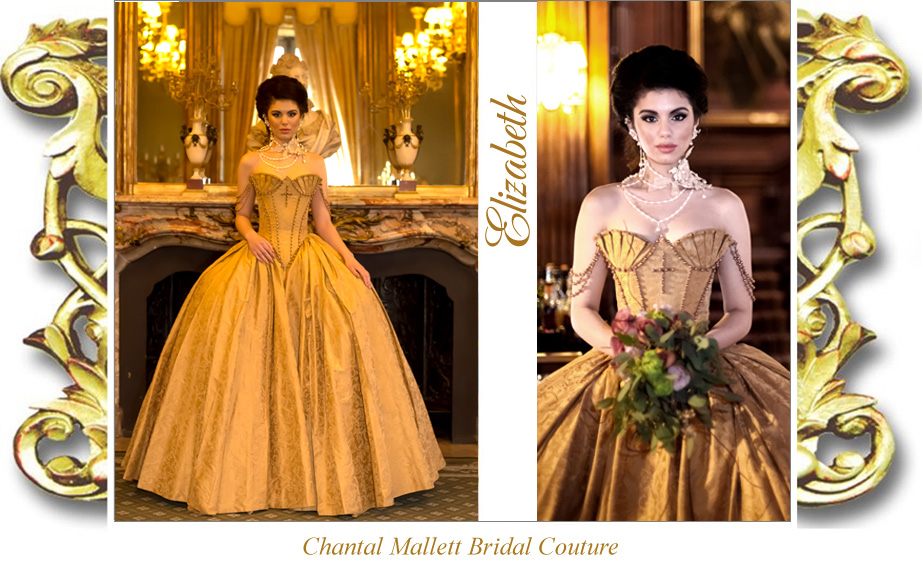 Couture,, elizabethan corseted wedding gown with full, ballgown skirt in gold silk brocade by Chantal Mallett.