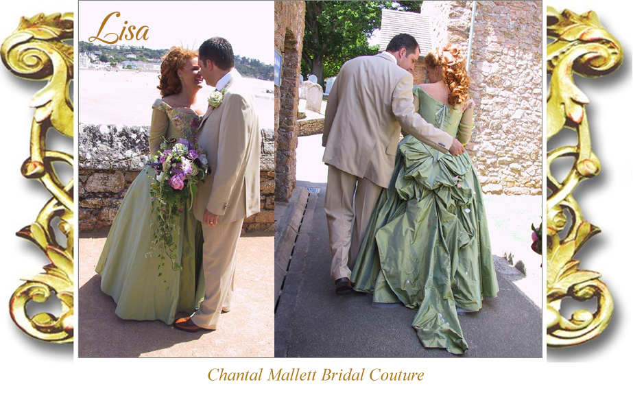 Bespoke, corseted bridal gown with full three quarter over-skirt, bustle & straight skirt underneath. Made in green / gold silk taffeta by Chantal Mallett,