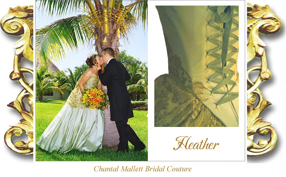 Couture, corseted wedding dress with a-line full skirt in  sea green / gold silk & gold lace by Chantal Mallett.