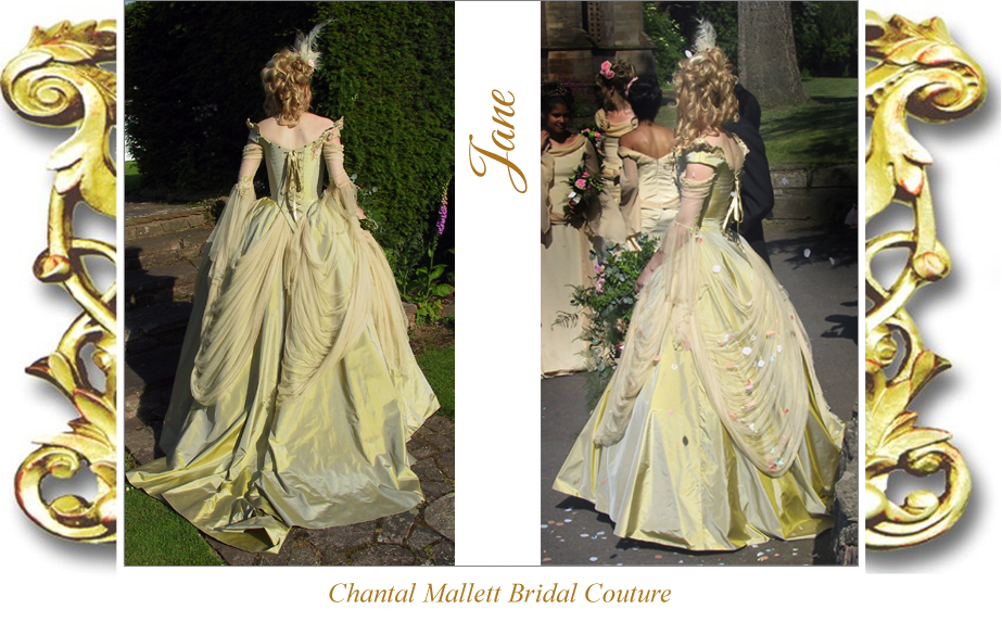 Couture, corseted wedding dress with full, a-line skirt in  green / gold taffeta with tulle french revolution sleeves by Chantal Mallett.