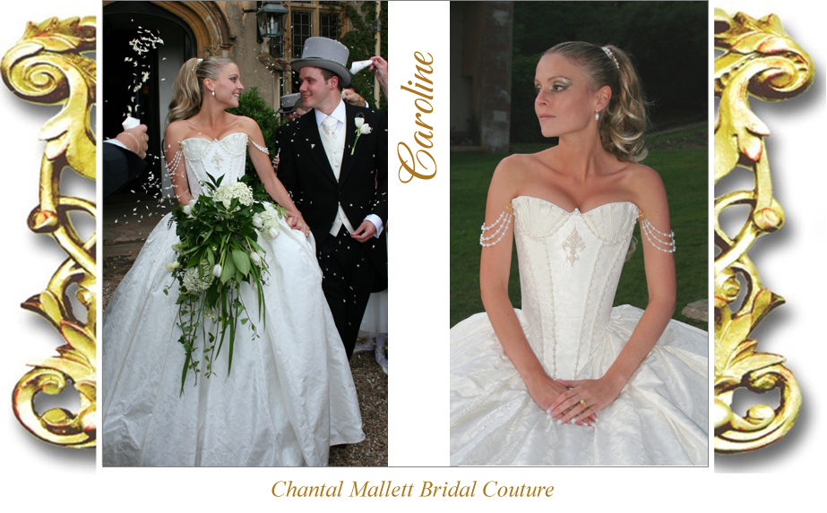 Couture, strapless corset wedding gown & full, ballgown skirt in  ivory silk brocade by Chantal Mallett.