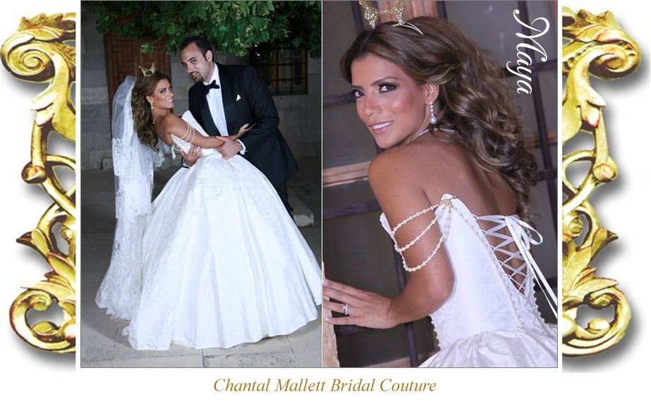 Bespoke, corseted wedding gown with full, ballgown skirt in ivory silk brocade by Chantal Mallett