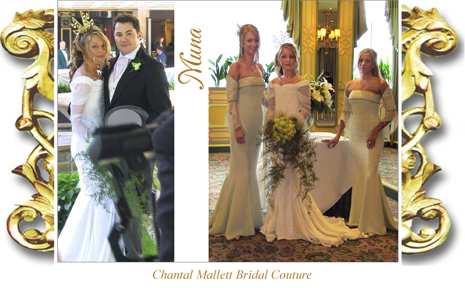 Couture, corseted wedding gown with fishtail & medieval georgette sleeves in ivory velvet by Chantal Mallett.
