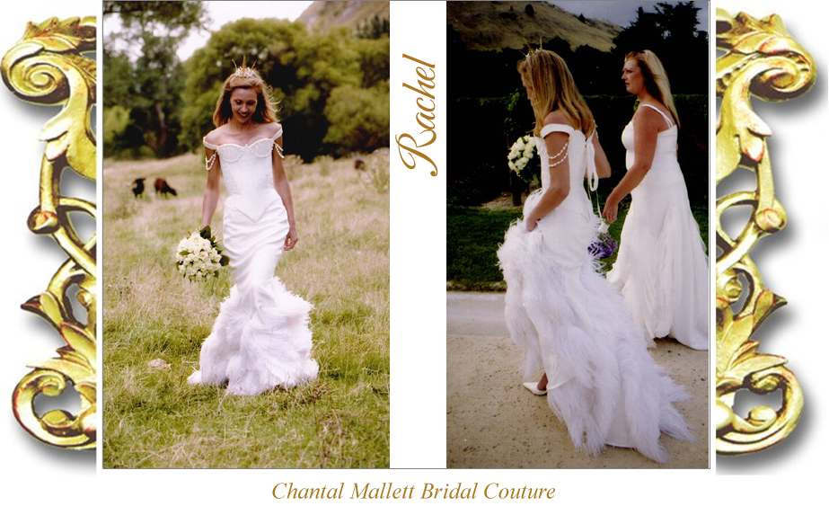 Bespoke, brocade corseted wedding dress with crepe & feather fishtail in ivory silk by Chantal Mallett.