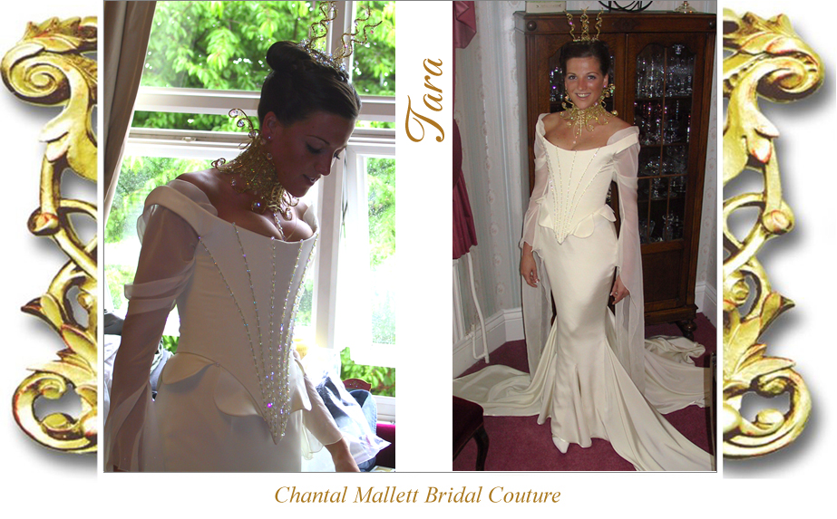 Couture, corseted wedding gown with fishtail & medieval chiffon sleeves in cream crepe by Chantal Mallett.