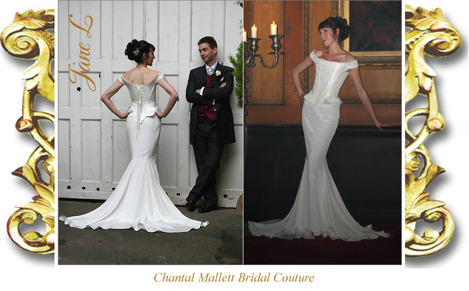 Bespoke, brocade corseted wedding gown with crepe fishtail in ivory silk by Chantal Mallett.