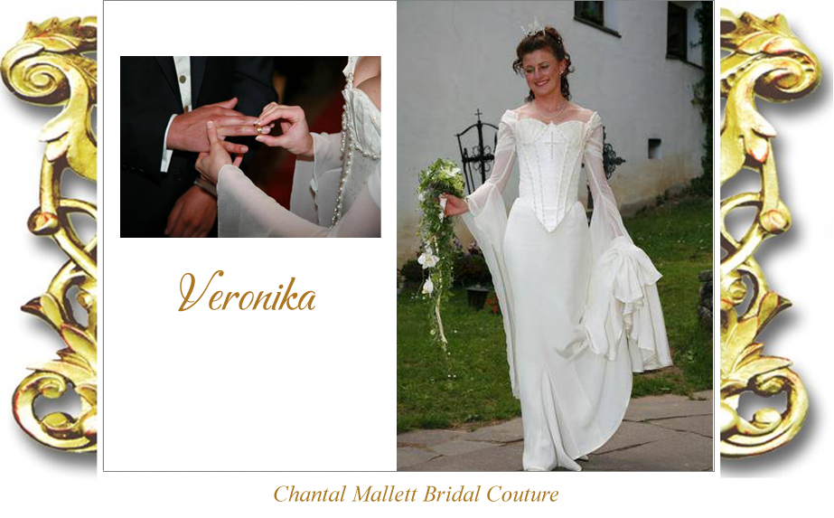 Bespoke, corseted wedding gown with crepe fishtail & georgette medieval sleeves in ivory silk brocade by Chantal Mallett.