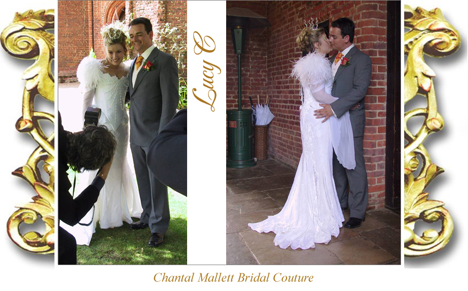 Bespoke, corseted wedding gown with fishtail, feathers & medieval sleeves in ivory velvet by Chantal Mallett.