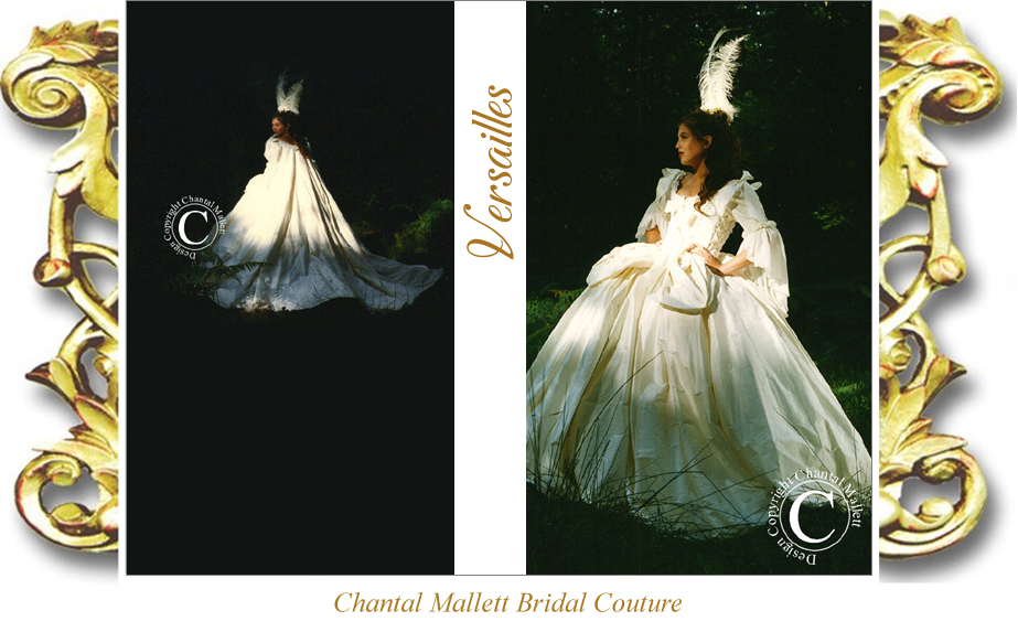 Couture, Marie Antoinette full skirted, corseted wedding dress with french revolution sleeves & opera cape. Made in  ivory silk by Chantal Mallett.