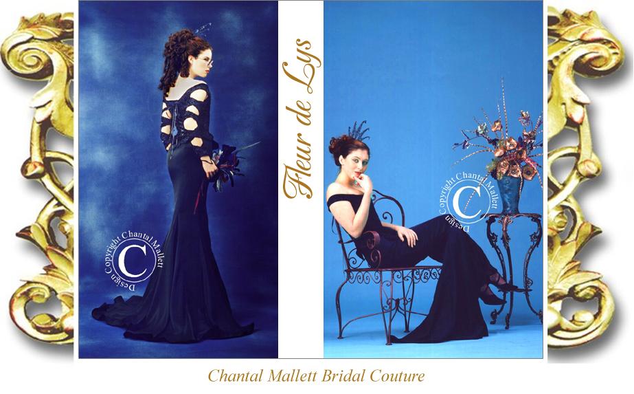 Couture, corset & fishtail wedding gown in midnight blue devore velvet by Chantal Mallett