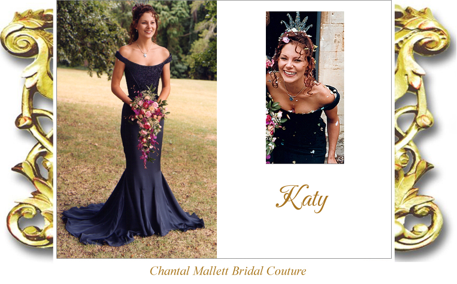 Couture, corseted wedding gown with fishtail skirt in navy blue crepe & devore by Chantal Mallett.