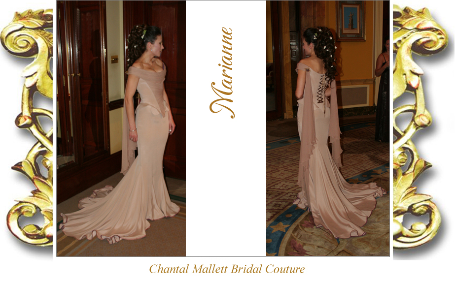 Bespoke, corseted wedding dress with fishtail in coffee coloured silk crepe by Chantal Mallett