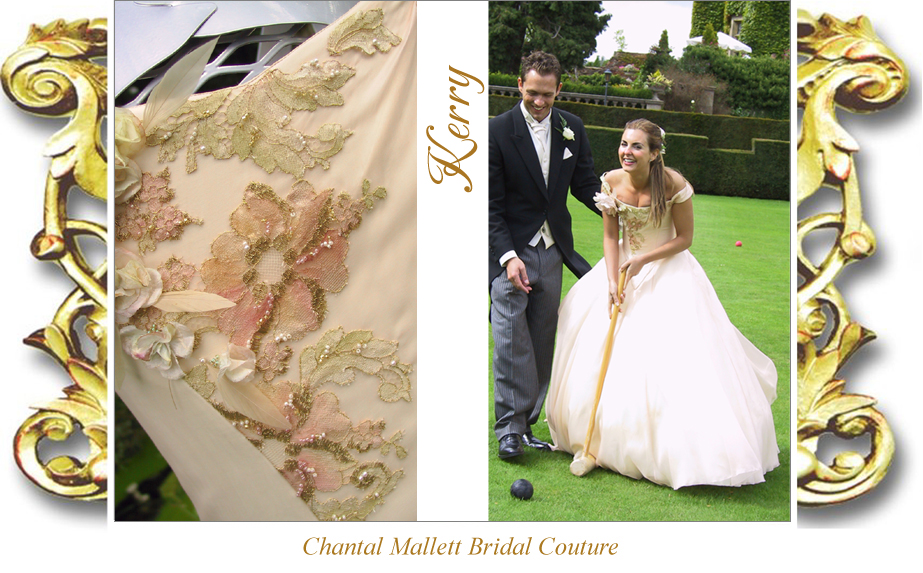 Couture, corseted wedding gown with a-line full skirt in peach silk organza by Chantal Mallett