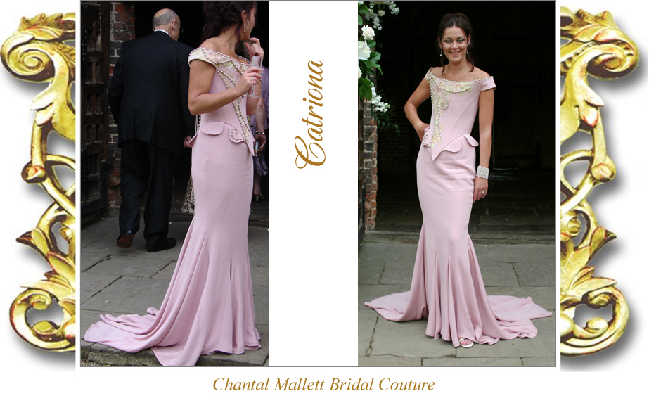 Bespoke, corseted wedding gown with fishtail in pink silk crepe & lace by Chantal Mallett