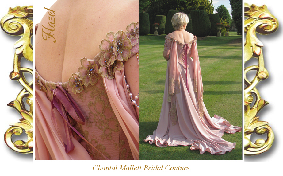 Bespoke, corseted wedding dress with a-line fishtailin pink silk crepe & gold lace by Chantal Mallett