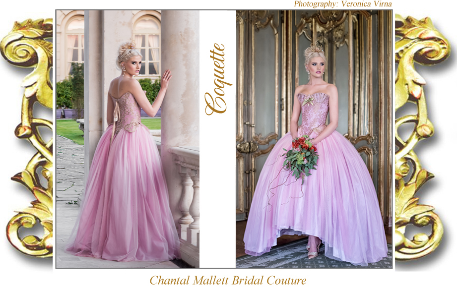 Couture, corseted wedding dress with ballgown skirt iin pink tulle & gold lace by Chantal Mallett.