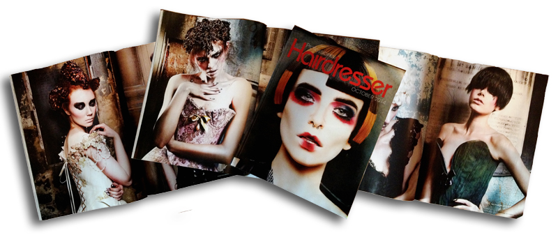 Chantal Mallett bridalwear as seen in Professional Hair Magazine, October 2014 - Ashleigh Hodges Asylum Collection.