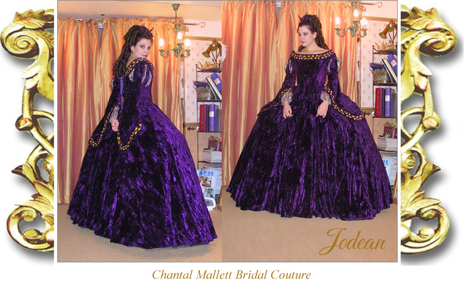 Couture, corseted wedding gown with ballgown skirt & tudor sleeves, made in purple velvet by Chantal Mallett