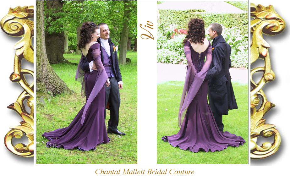 Couture, corseted fishtail wedding gown & medieval sleeves in purple by Chantal Mallett