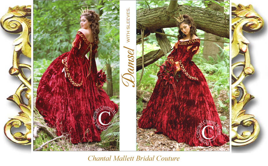 Chantal mallett bridal couture bespoke red and burgundy for Tudor style wedding dress