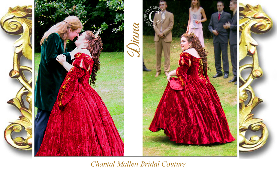 Couture, corseted wedding gown with ballgown skirt & tudor sleeves in red velvet by Chantal Mallett