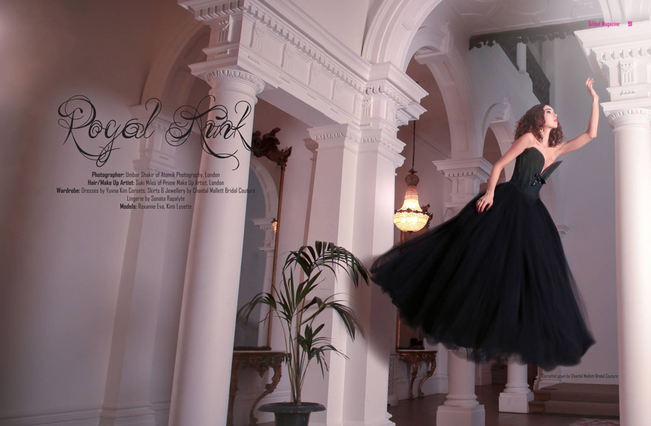 Royal Kink; Chantal Mallett black tulle corseted ball gown, shot by Atomik Photography for Gilded Magazine.